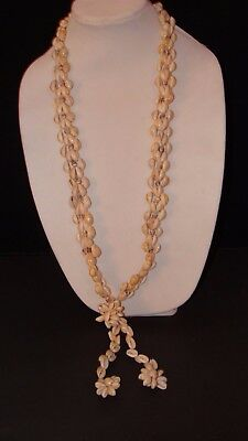"""Vintage 70/'s Hawaiian Cowrie Shell Green 34/"""" NECKLACE Lei Luau NEW OLD STOCK"""