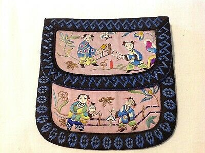 Antique Chinese Embroidered purse Charactors in a garden Neadlepoint Embroidery