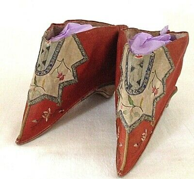 Antique Chinese Lotus Bound Feet Shoes Embroidered Cherry Lotus Apple Blossoms