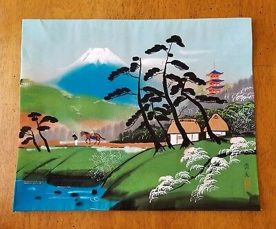 Vintage Signed Japanese Woodblock Print Original Unknown Artist Mount Fuji Horse