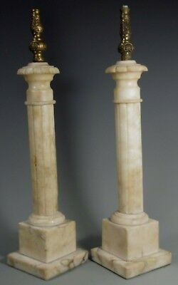 Fine Old Pair Of European Marble Column Lamp Bases ca. early 20th century