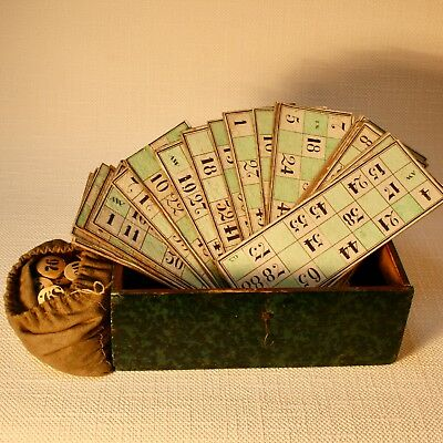antique BINGO Game |BINGO Spiel in Holzkassette ~ 1840 Biedermeier