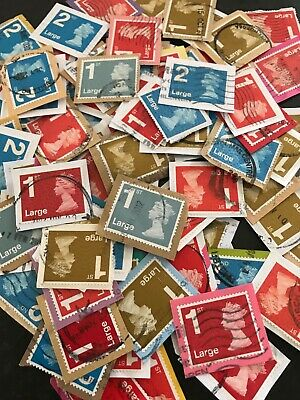 100 Used -Franked 1st & 2nd class large GB stamps on paper, security slits
