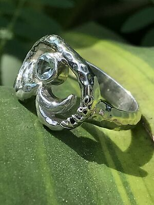 Hand-Crafted Fashion St. John Petroglyph & Blue Topaz Hammered .925 Silver Ring