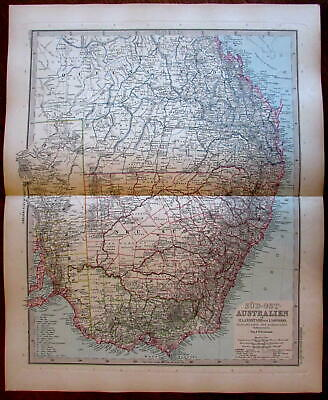 Southeastern Australia Melbourne Sydney New South Wales 1890 old color map