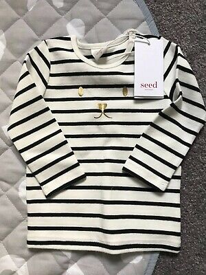 Seed Gold Foil Stripe Long Sleeve Thick Tee Size 0 BNWT
