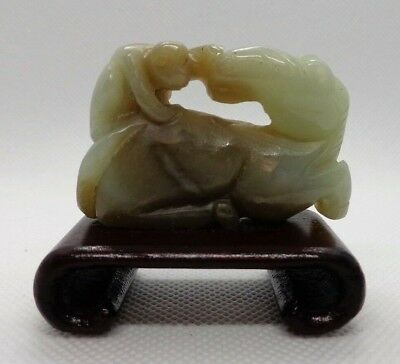 Antique Chinese Jade Carved Figurine of Monkey sitting on Recumbent Horse