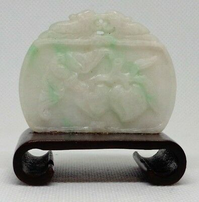 Fine Antique Chinese Carved Jadeite Pendant on wood base Peaches and Monkey