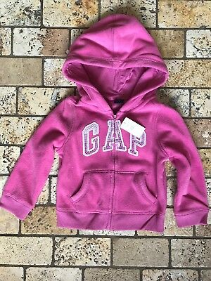 Gap Girls Pink Fleece Zip Up Logo Hoodie Sweatshirt 3 Years