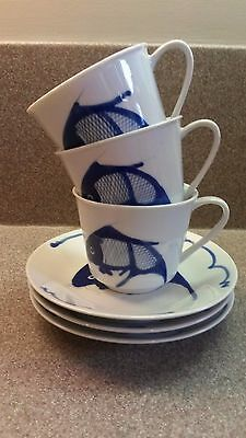 Set Of 3 Porcelain Chinese Blue White Koi Carp Fish Cups And Saucers