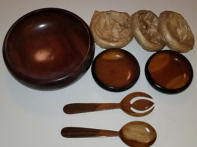 Vintage Haitian Mahogany Salad Bowl Set with Serving Spoon & Fork
