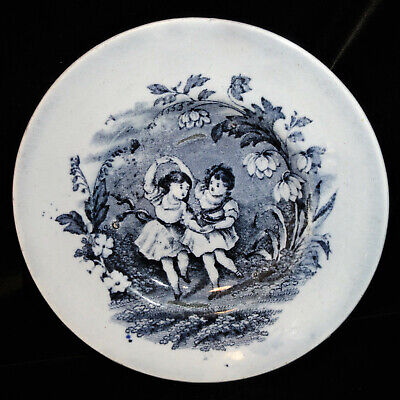 Early Childs Plate HAPPY FLOWER DANCERS Staffordshire 1840