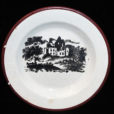 Miniature Pearlware Creamware Toy Plate Abbey Ruins 1830 Staffordshire Wedgwood