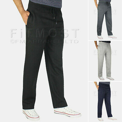 Mens Fleece Open Hem Bottoms Track Pants Casual Joggers Jogging Trousers S-5XL