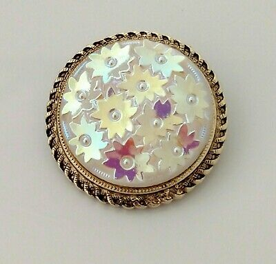 Iridescent Flower Scarf Clip Vintage Antique Gold Tone Finish WESTERN GERMANY
