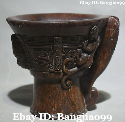 Chinese Ox Horn Hand Carving Dragon Beast Oxhorn Cann Cup Tumbler Goblet Statue