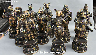 Unique Pure Bronze Twelve Zodiac Year Animal Cattle Dragon Tiger Sheep Pig Set