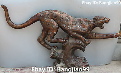 119CM Chinese Fengshui Bronze Violent Leopard Panther Lion Beast Animal Statue