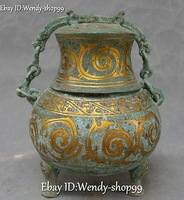 "9"" Ancient Bronze Ware Gild Phoenix Beast Container Pot Jar Crock Jug Statue"