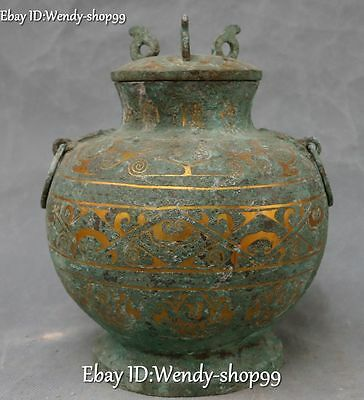 "9"" China Ancient Bronze Ware Gild Dragon Beast Container Pot Jar Crock Tank Jug"