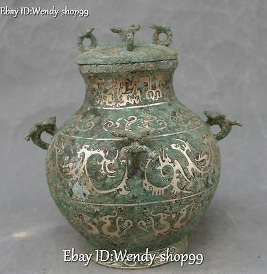 "9"" Ancient Bronze Ware Silver Dragon Beast Container Pot Jar Crock Tank Jug"