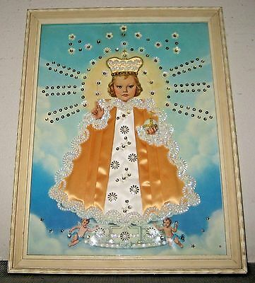Czech Baby Jesus Folk art Religious Framed Picture Sequins and Fabric collage
