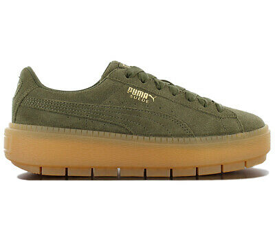 af1ff699876 Puma Basket Suede Platform Creepers Olive Green Juniors Girls Womens  Trainers.