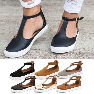f51598e3cd8a Womens T-Bar Ankle Strap Sandals Ladies Summer Beach Closed Toe Flat Shoes  Size