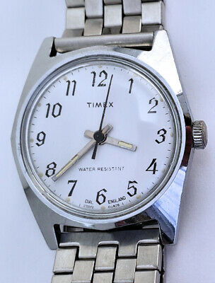 Vintage 1978 Men's Timex Watch #24 Silver 30mm Arabic Dial England Wind Up 23372