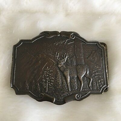 Vintage Brass Buck Deer Belt Buckle Wyoming Studio Art Works James Lind 1974