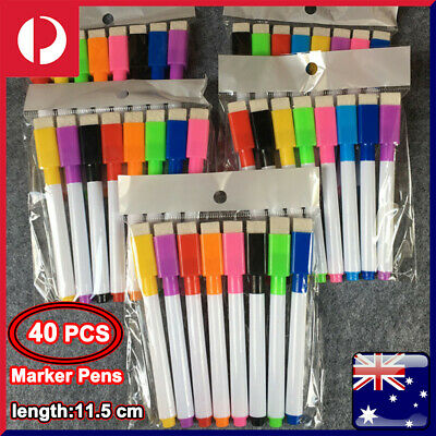 8x MultiColor Dry Wipe Whiteboard Marker Pens Medium Point + Magnetic Eraser Lid
