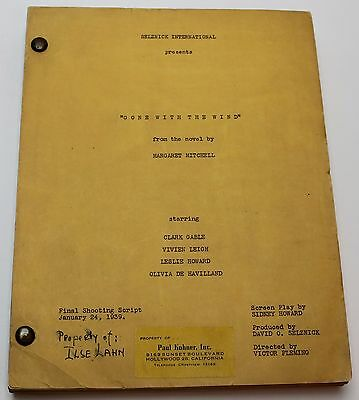 GONE WITH THE WIND / Sidney Howard 1939 Movie Script of Margaret Mitchell novel