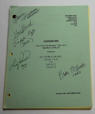GOOSEBUMPS, 1995 TV Script REAL AUTOGRAPHS BY CAST, Stay Out of the Basement