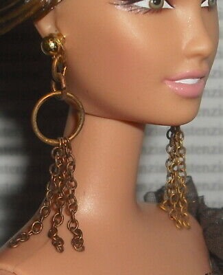 JEWELRY  BARBIE DOLL 50TH ANNIVERSARY MODEL MUSE GOLD DANGLE EARRINGS ACCESSORY