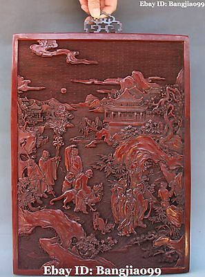"""16"""" Chinese Lacquerware Carving Eighteen Arhat Plate Tray Screen Wall Hanging"""