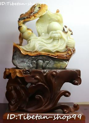 "14"" Rare China Natural Jade Carving Gourd Longevity Shou Xing God Head Statue"