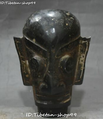 Unique Hongshan Culture Old Jade Sanxingdui Man Person Eye Beast Head Statue
