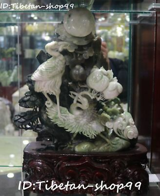 Rare Natural Dushan Jade Pure Hand Carved Red-crowned crane Birds Peach Statue