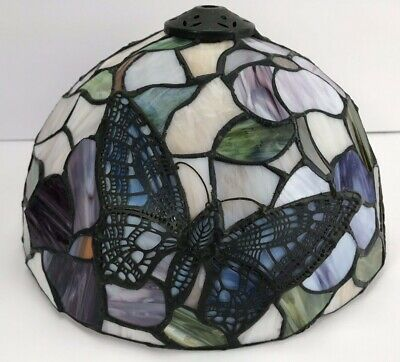 """Floral Butterfly Stained Glass Lamp Shade- Tiffany Style-10"""" Across"""