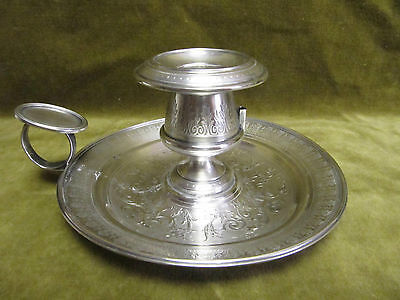 Antique french sterling guilloche silver Chamber Candle Stick Holder 199gr