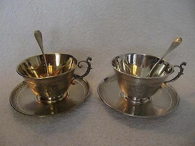 beautiful antique french guilloche gilded silver 950 chocolate cup (*2) 362gr