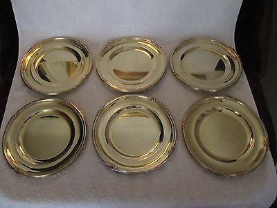 antique french sterling silver (minerve) dessert plates (6) Louis XV st 1900g