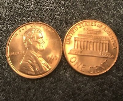 1969 S Lincoln cent  Blazing Nice MS/BU RED