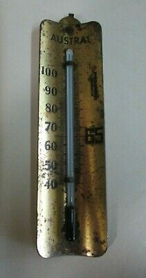 Vintage - Austral Photographic Thermometer - Gold Tone Metal - Fahrenheit