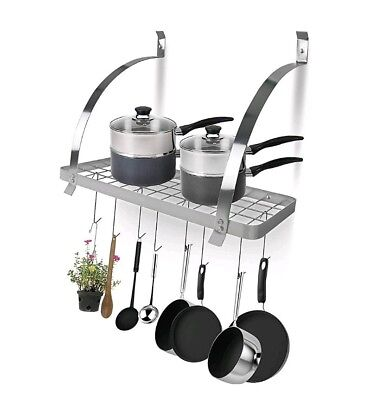 Kitchen Pot Pan Hanger Rack Shelf Hooks Utensil Cookware Storage Organizer Wall.
