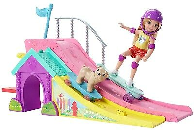 Barbie Club Chelsea Flips & Fun Skate Ramp Doll & Puppy Playset Official New