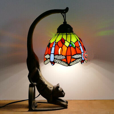"""6"""" Red Dragonfly Tiffany Style Table Night Light w/ Stained Glass Lamp shade Bar"""