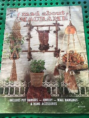 Retro 1975.Mad about Macrame-14 Projects.Pot Hangers,Wall hangers,owls,jewellery
