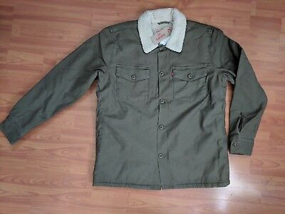 Levis Sherpa Military Shirt Jacket Mens Olive Night Army