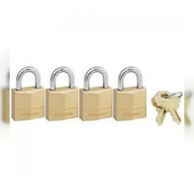 Master Lock Padlock, Solid Brass Lock, 3/4 in. Wide, 120Q (Pack of 4-Keyed...